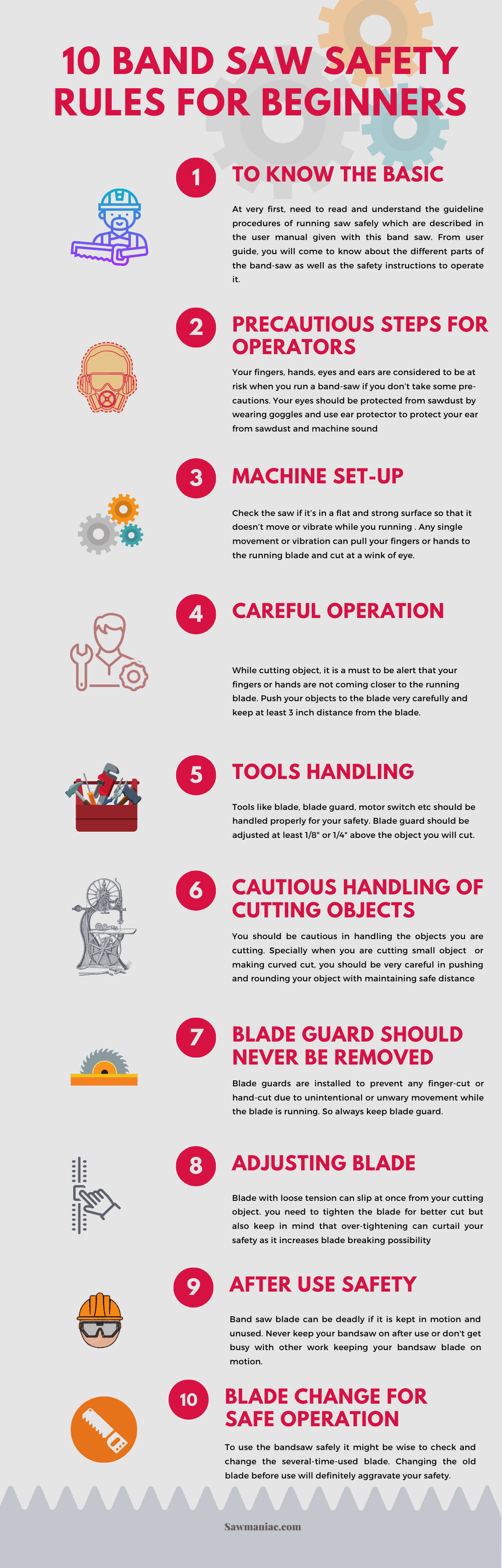band saw safety infographic