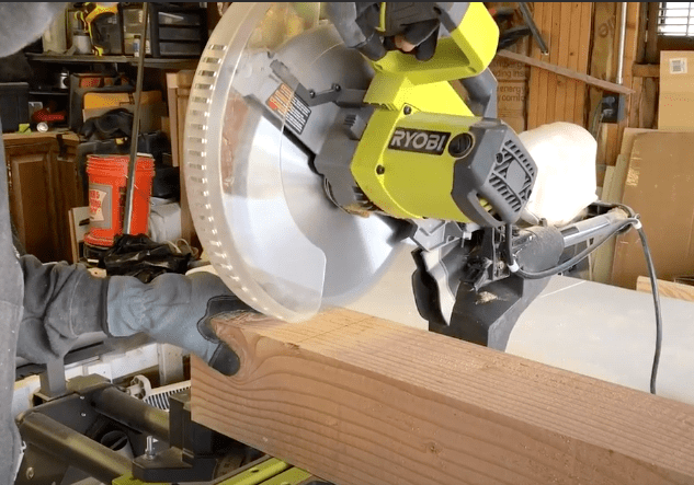 cutting 6x6 post with a miter saw